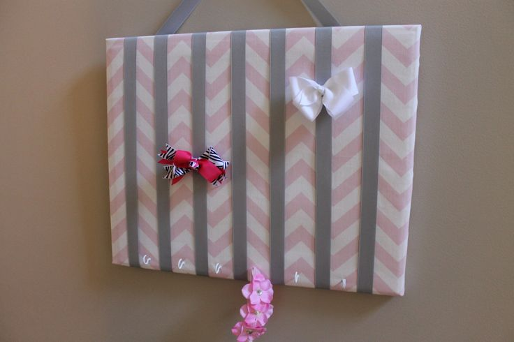 Large Light Pink and White Chevron Hair Bow by LisaAnnsCreations, $25.00