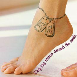Ankle dog tag tattoo design idea