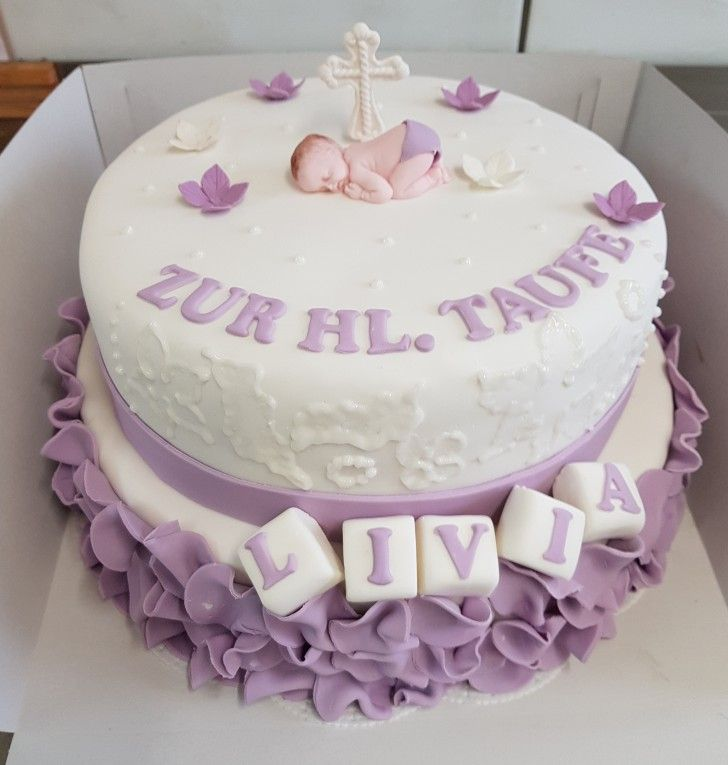 Tauftorte Madchen Lila Ruschen Mit Fondant Christening Cake Girl Violet Taufe Kuchen Madchen Taufe Kuchen Torte Taufe