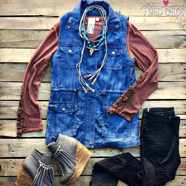 Backseat Butterflies Denim Cargo Vest - Denim #happiness #summer #freeshipping #musthave #instadaily #follow #like #love #repost #share #fashion #outfit #perfect #fashionblogger #bloggers #summerbegins #onlineshopping #shopping  #ootd #ootn