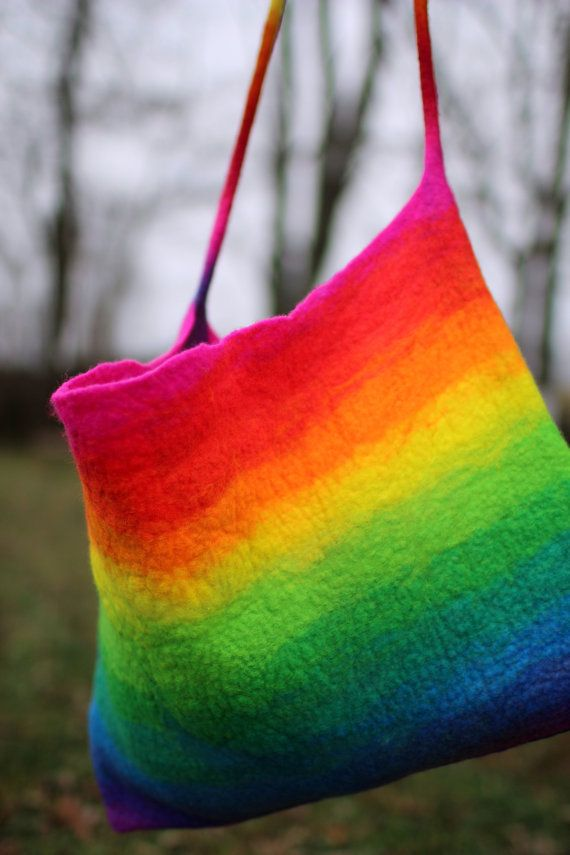 Rainbow Bag by HandiCraftKate, on Etsy Photo Prop by Rhonda Bohart