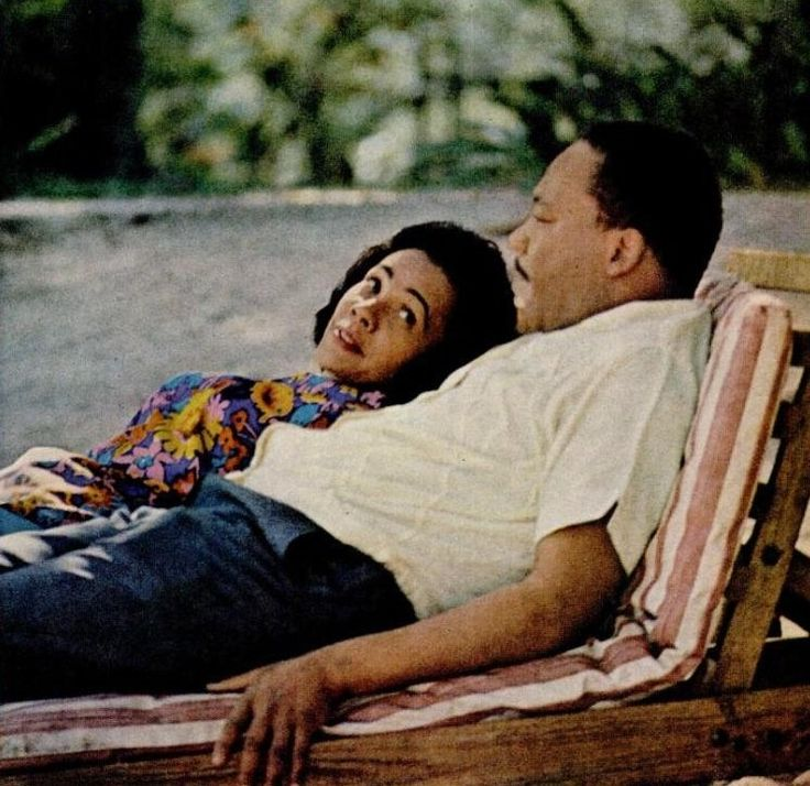 Martin and Coretta King share a quiet moment relaxing, probably a rare occasion for the couple.