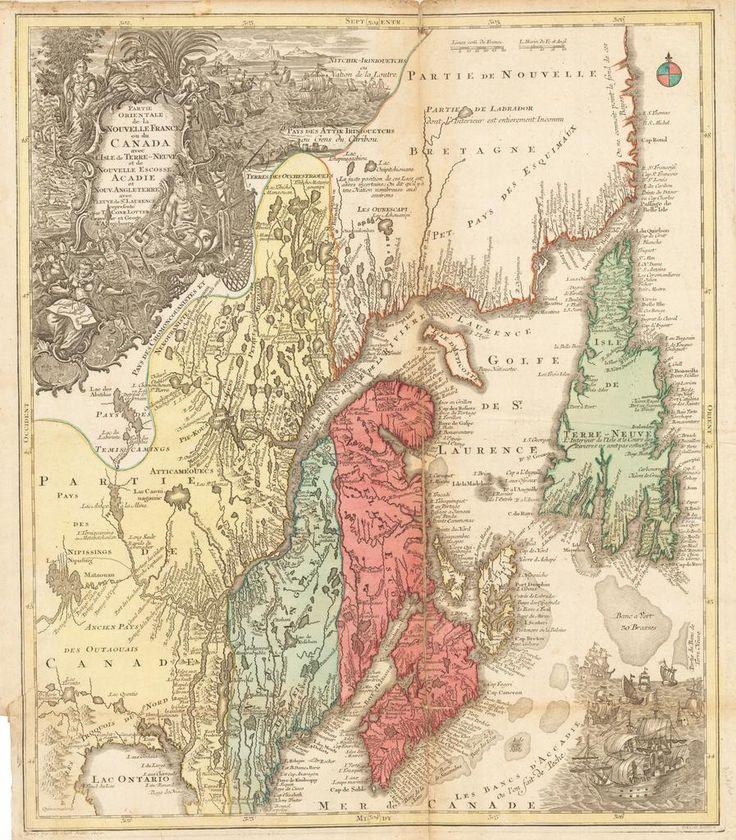 Partie Orientale de la Nouvelle France ou du Canada avec l'Isle de Terre-Neuve et de Nouvelle Escosse Acadie et Nouv. Angleterre avec Fleuve de St. Laurence