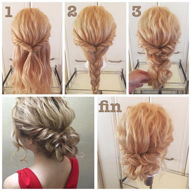 #ヘアアレンジ解説 * 5分で完成ゆるっとシニヨンスタイル✨ * ①サイドをねじって後ろで結び、くるりんぱします。 * ②残った髪を三つ編みにします。 * ③三つ編みをクルクルと上に巻き込んでピンでとめたら出来上がりです。 * ①②③の途中途中で髪をひきだしながら進めていくのがポイントです☝️✨ * #hair#hairmake#hairarrange#hairstyle#ヘア#ヘアアレンジ#アレンジヘア#簡単ヘア#簡単ヘアアレンジ#5分アレンジ#ヘアセット#ヘアスタイル#アップスタイル#ブライダルヘア#大人かわいい
