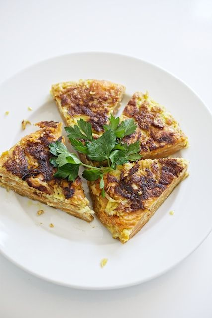 Spanish Sweet Potato Tortilla with Salsa Verde. Incredibly good recipe instructions.
