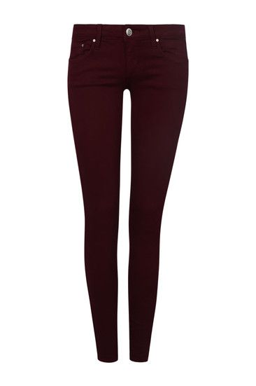 Burgundy Crop Low Rise Skinny Trousers #newin #musthave #TALLYWEiJL