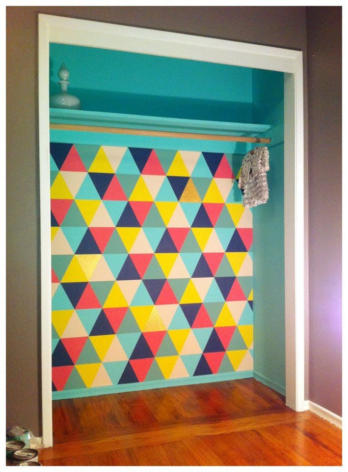Geometric pattern inside a closet — love!    #closet #painting #mural #geometric #triangle #color #shapes #pattern