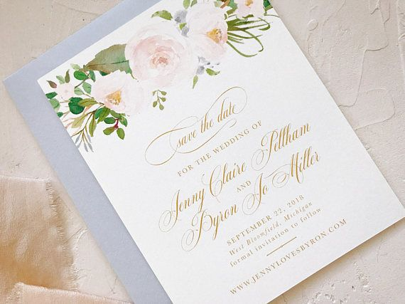 Floral Watercolor Wedding Invitation Suite Dusty Blue And Blush
