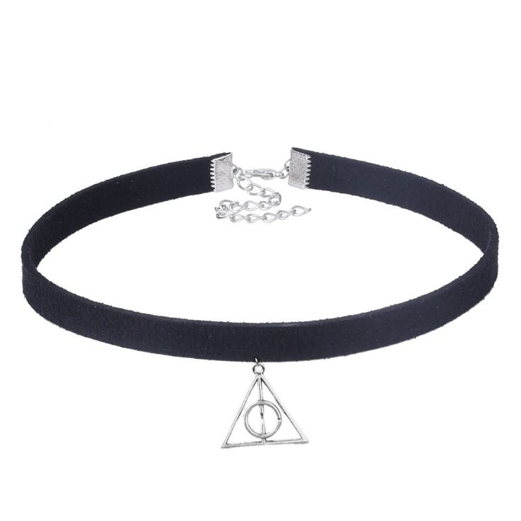 2016 New Fashion Minimalist 10mm Black Velvet Collar Necklace Selling Harry Potter Films Triangle Pendant For Chockers WomeXL033