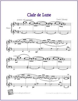 Clair de Lune (Debussy) | Printable Sheet Music for Easy Piano - http://makingmusicfun.net/htm/f_printit_free_printable_sheet_music/clair-de-lune-piano.htm