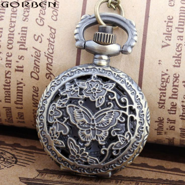 2017 Hollow butterfly pocket watch small size new fashion style quartz pocket watches necklace chain men women ladies best gifts