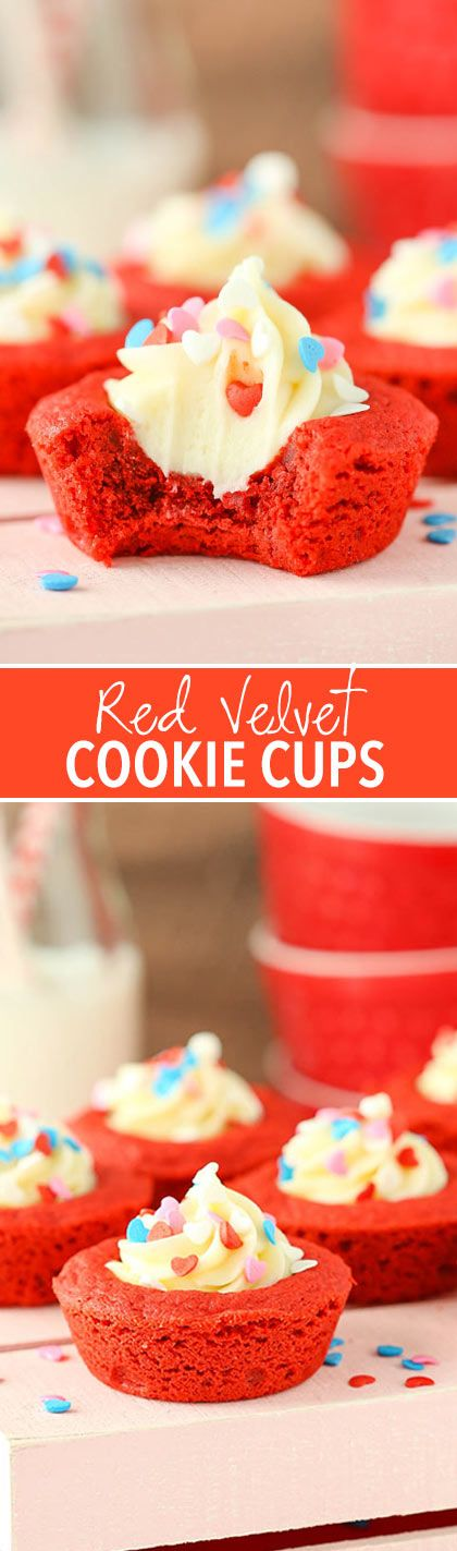These Red Velvet Cheesecake Cookie Cups are soft, chewy and full of classic red velvet flavor with a cheesecake filling! They are delicious little cookies, perfect for Valentine's Day and sharing!