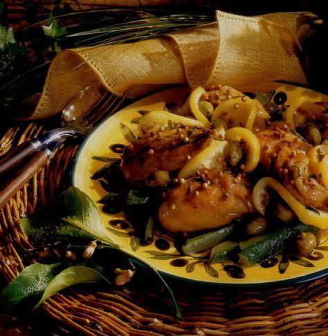 Poulet à la grecque aux olives et à l'ail