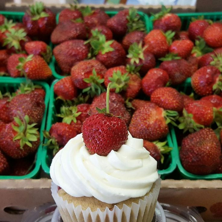 We make everything from scratch here at Radical Gardens. We love making things with seasonal products as well, like our fresh strawberry cupcake. #radicalgardens #dessert #cupcakes #strawberries #timmins #northernontario