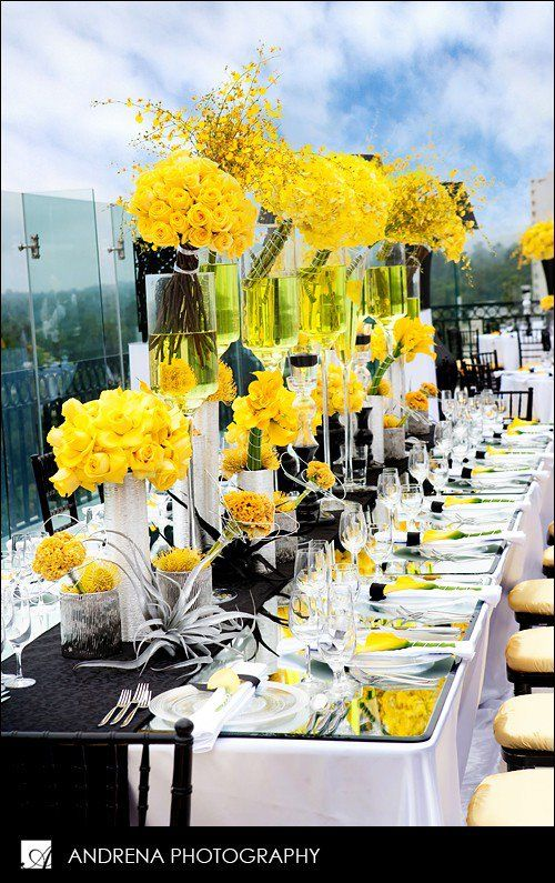 Stunning yellow reception table setting. If I had NO budget lol