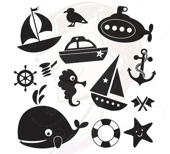 13 ClipArt Silhouette nautischen Design-Elemente. Ideal für das Drucken und verwenden um Ihren eigenen...    Baby Shower Einladung Karten,