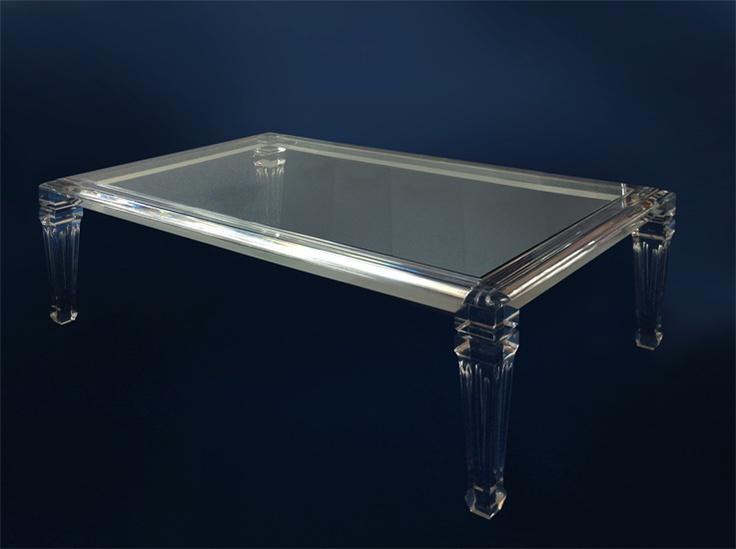 Tavolo da salotto in plexiglas 'Luigi XVI' - cm 130x80h40