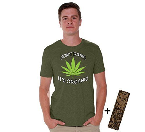 Awkwardstyles Don't Panic It's Organic T-shirt Weed Kush Shirt + Bookmark M Military Green