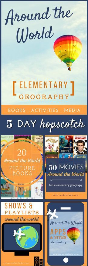 Around the World Elementary Geography Resources. 1st post in a 5 day series including recommendations for Elementary continent studies, activities, books and activities, movies, apps, websites, shows, and playlists. Click through for general geography res