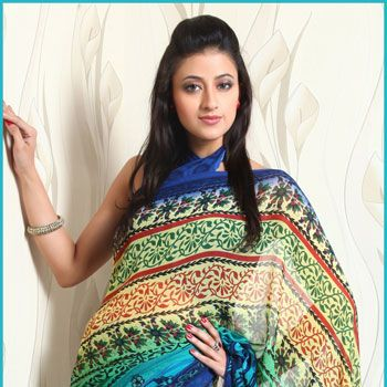 Multicolor Faux Chiffon Saree With Blouse