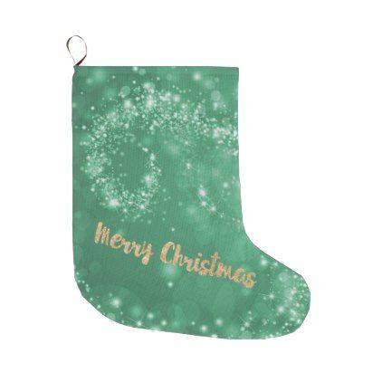 Green white faux gold glitter Merry Christmas Large Christmas Stocking - glitter glamour brilliance sparkle design idea diy elegant