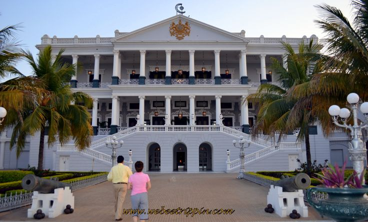 Hyderabad - Taj Falaknuma Palace Hotel façade. It is the finest palaces of the nizams in all of Hyderabad. in 2000, Taj Hotel bought the palace and began restoration and renovation.  It has 220 beautifully decorated rooms and 22 grand hallways.