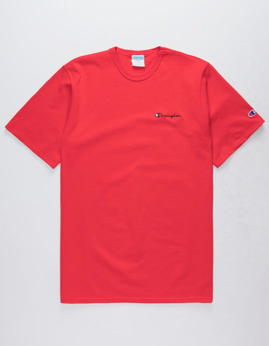 98e6fca3 CHAMPION Embroidered Script Logo Red Mens T-Shirt | ~⭕ ❌ in 2019 ...