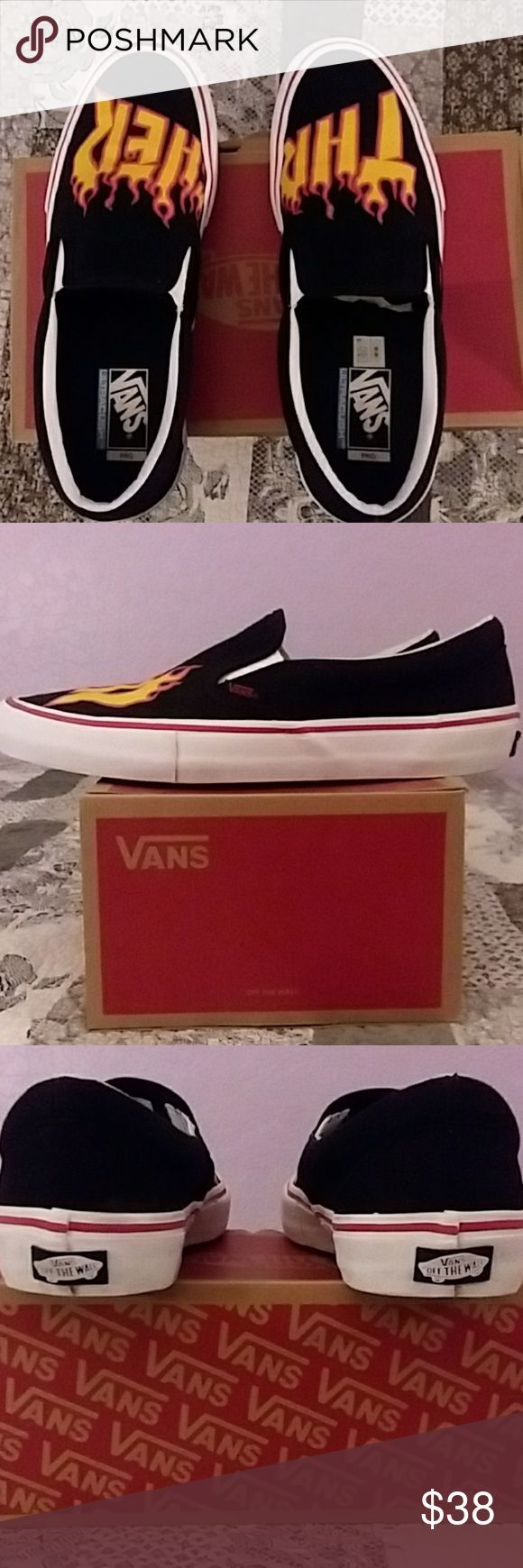Thrasher x Vans Slip On Excellent Preowned condition only worn 4-5 times. No major flaws. Thrasher x Vans Slip On Pro in size 10.5 Vans Shoes Sneakers