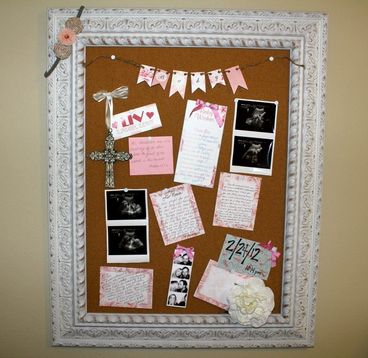 Memory board for nursery! Filled with love notes to baby, sonogram pictures, family pictures, and anything else special to baby!