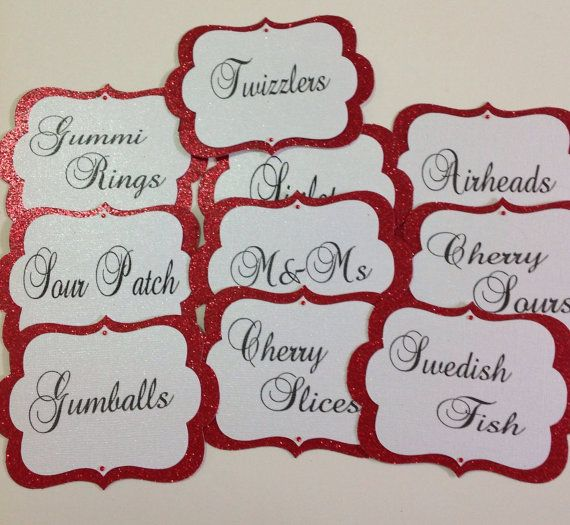 Set of 10 beautiful candy buffet tags! Perfect for your wedding or special occasions. - Glitter red cardstock and sheen white. - Two crystals