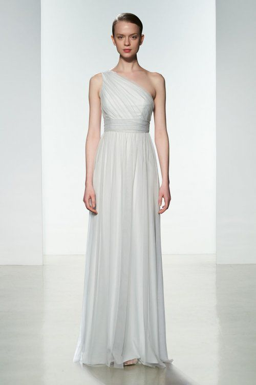 One shoulder bridesmaid gown with empire waist  from Amsale Bridesmaids. Shown in Mint.