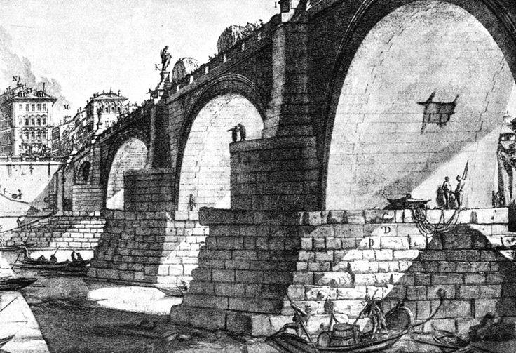 Giovanni Battista Piranesi, Vedute di Roma: Ponte di Sant'Angelo, 1748-74, incisione, pubblicata per la prima volta a Roma.
