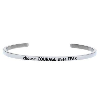 'Choose COURAGE over FEAR' #LilyAnneDesigns #bracelet #inspiration #Silver