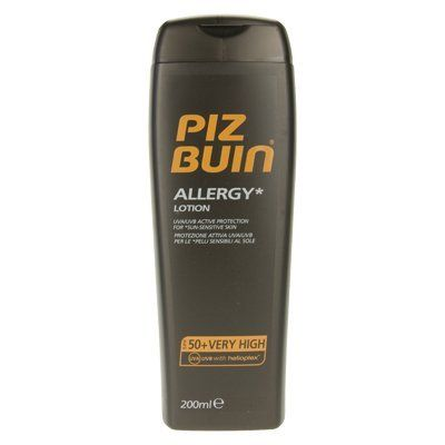 Piz Buin Allergy Sun Lotion SPF50+ (200ml) by Piz Buin. $14.49. Piz Buin In Sun Allergy Lotion SPF50 is scientifically approved with dermatologists. Heliplex technology provides photostable UVA/UVB broadspectrum protection while vitamin E helps neutralise free radicals which cause premature skin ageing. Contains gentle Aanduline to help soothe irritations and a rich hydration complex to leave your skin smooth and silky soft. Sweat and water resistant. *For sun s...