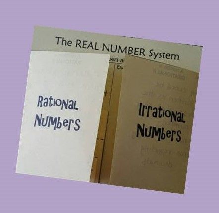 This is a foldable used to help students understand the real number system. The outside flaps cover the irrational and rational numbers. Inside the foldable there are 3 more flaps containing the integers, whole numbers and natural numbers.   Students write down what it means for a number to be either rational or irrational. A bank of numbers is also included for the student to classify after the foldable is put together.This foldable can be put together with one sheet of paper.
