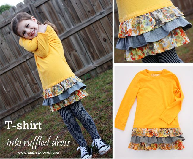 a great, simple tutorial for adding a ruffled skirt to the bottom of a T-shirt - Make-it-Love-it sews the ruffles on to an under-skirt and then sews the whole thing to the bottom of the shirt
