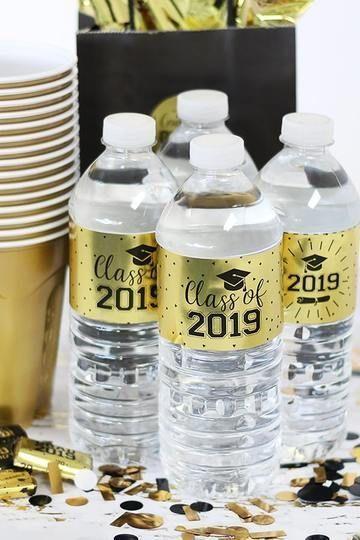 Gold Graduation - 2019 Grad Party Water Bottle Labels on Gold Foil - 24 Count
