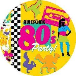 Bordjes Awesome Eighties Breakdance -  Een set met 8 grote bordjes bedrukt in jaren 80 stijl. Doorsnede: 23cm.