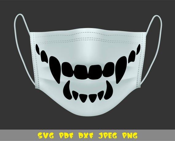 Monster Teeth For Face Mask Svg Png Pdf Dxf Jpg File Svg Things To Sell Dxf