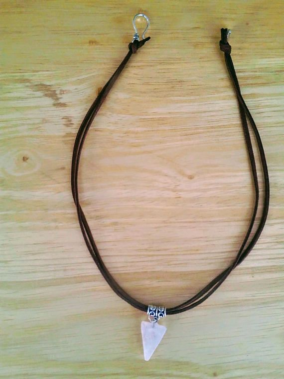 White necklace Triangle necklace Quartz necklaces Boho