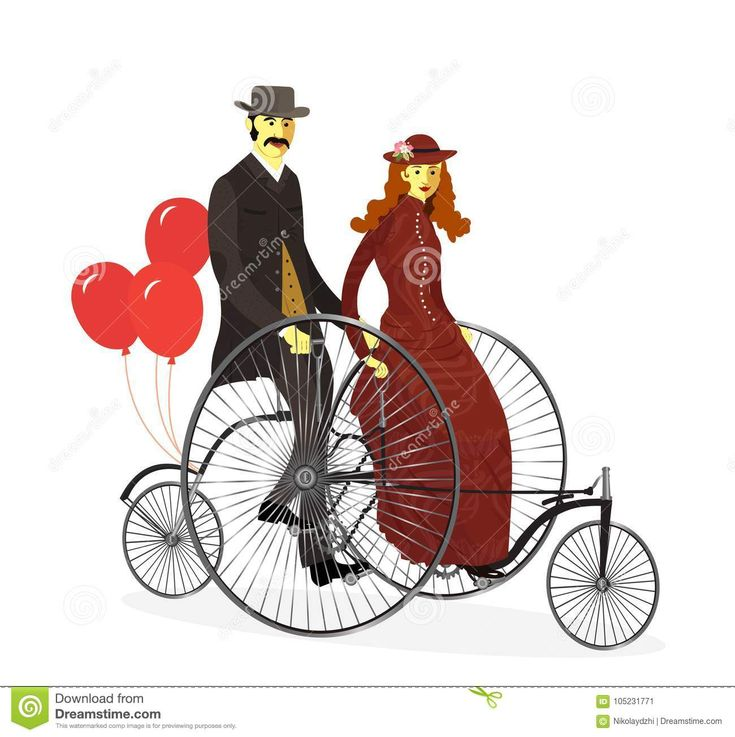 Couple Of Cyclists On Tandem Bicycle With Balloons.Vector Stock Vector - Image: 105231771
