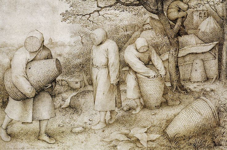 #Beekeepers by Pieter #Bruegel the Elder, pen and #ink #drawing on #paper c. 1568, depicts workers in protective clothing servicing their #honey bee hives in an outdoor apiary set in a rustic village #landscape.  www.zazzle.com/argentarts/beekeepers?rf=238581041916875857&ps=120&tc=pin