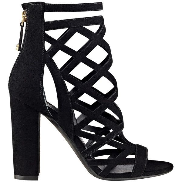 GUESS Eriel Caged Heels ($66) ❤ liked on Polyvore featuring shoes, pumps, caged pumps, block heel court shoes, guess footwear, block heel pumps and caged shoes