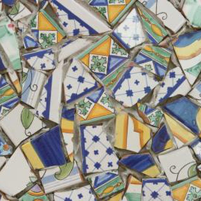 Broken dishes make creative mosaic tiles.