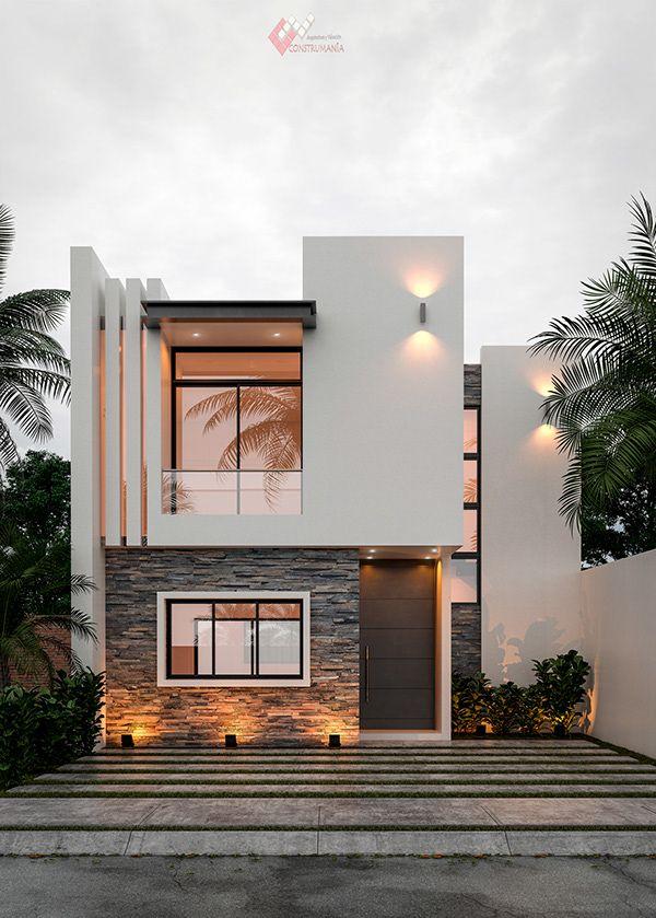 TOMAS EXTERIORES on Behance Modern Brick House, Modern Exterior House Designs, Modern House Facades, Modern Architecture Design, Facade Design, Modern House Design, Architecture Interiors, Modern Townhouse, Townhouse Designs
