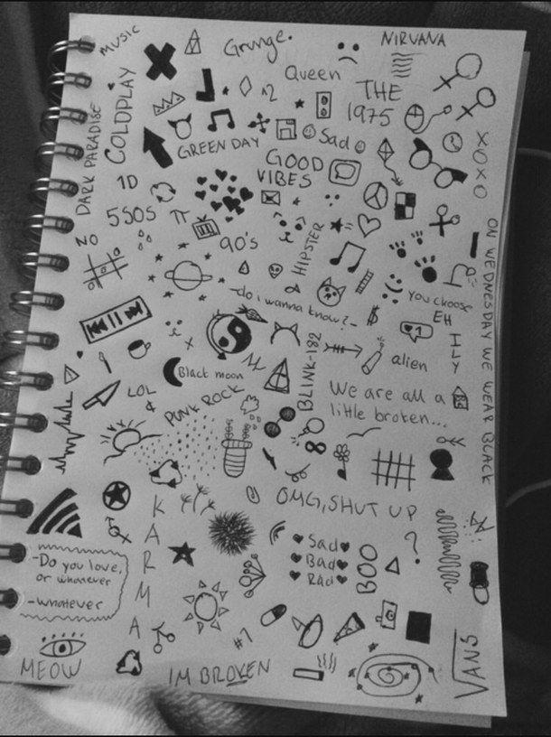 grunge, tumblr, doodle, drawing, journal