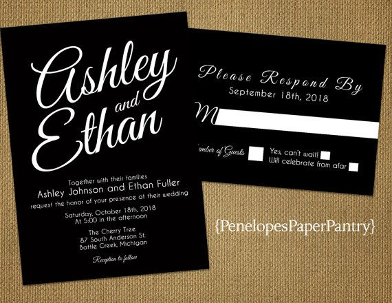 1000 images about Black and White Wedding Invitations on – Elegant Black and White Wedding Invitations