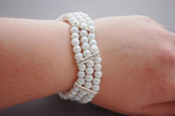 White Pearl and Rhinestone Bridal Bracelet by CherryBlossomJewels0, £25.00