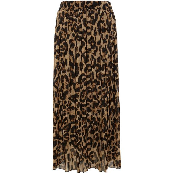 Brown leopard print maxi skirt ($44) ❤ liked on Polyvore
