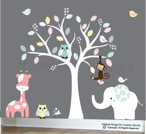 White tree childrens wall sticker decal jungle animals owls birds monkey elephant giraffe